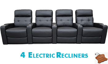 Arena 4 Seater Electric Theatre Lounge in 100% Leather