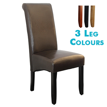 Avalon Upholstered Dining Chair in Brown Leatherette