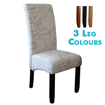 Avalon Upholstered Dining Chair in Script Fabric