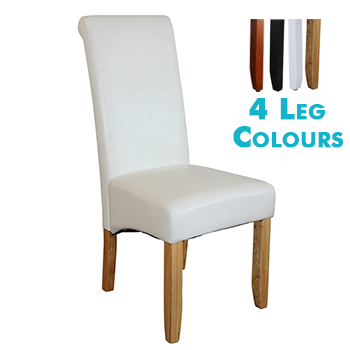 Avalon Upholstered Dining Chair in White Leatherette