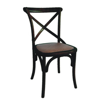 Barista (Black) Hardwood Dining Chair with Rattan Seat