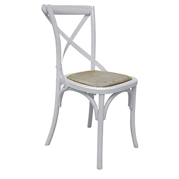Barista (White) Hardwood Dining Chair with Rattan Seat