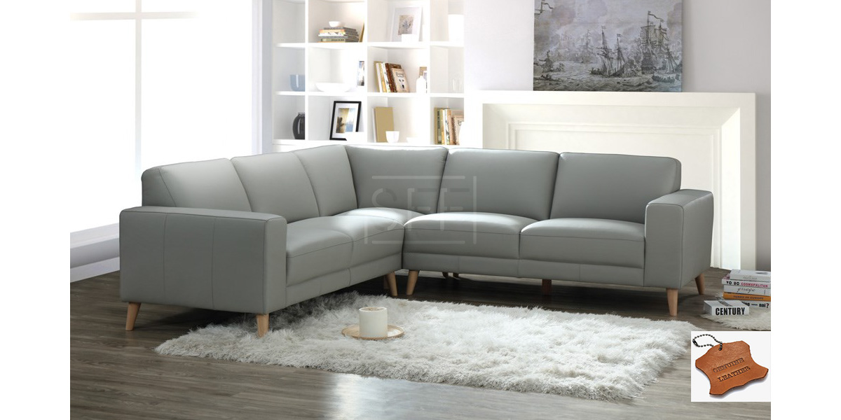 bondi corner modular in pewter full leather - Furniture Bondi