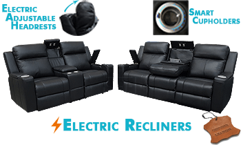 Cameo with Electric Recliners & Headrests in 100% Thick Leather