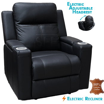 Cameo Electric Recliner Chair in 100% Thick Leather