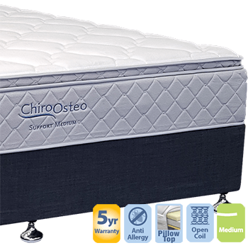 Chiro Support Medium with Pillow Top Queen Mattress and Base