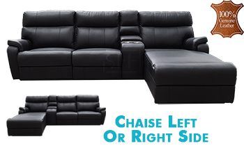 Denver Chaise Lounge with End Recliner in 100% Leather