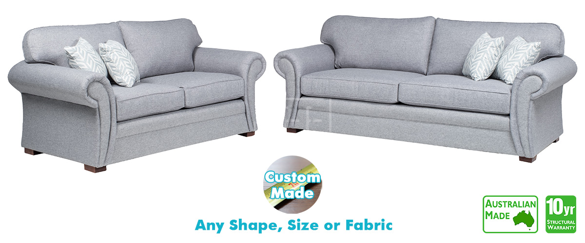 Dover Fabric Sofa Pair, Sydney Furniture Factory