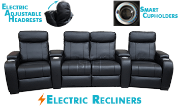 Encore Curved with Electric Recliners & Headrests 100% Leather