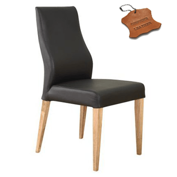 Eva 100% Leather Dining Chair in Black