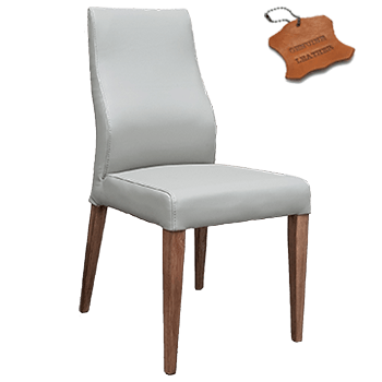 Eva 100% Leather Dining Chair in Light Grey