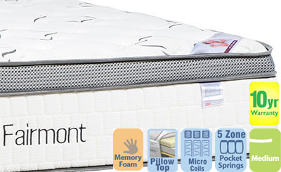 Fairmont Luxury Medium Double Mattress with Pillow Top