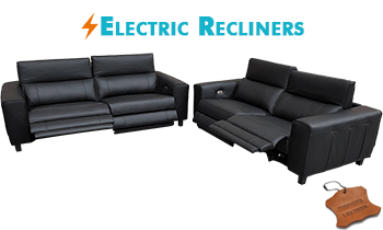 Keira Sofas with Electric Recliners in 100% Leather