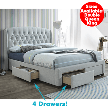 Kingston 4 Drawer Upholstered Bed in Stone