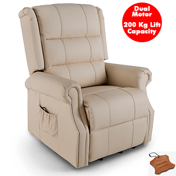 Lincoln Dual Motor Electric Lift Chair in 100% Leather