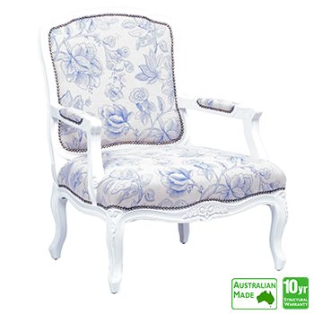 Louis XV Accent Chair with White Frame