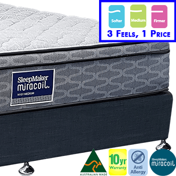 Sleepmaker Miracoil Classic Single Mattress & Base - 3 Feels