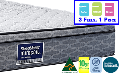 Sleepmaker Miracoil Classic Single Mattress - 3 Feels Available
