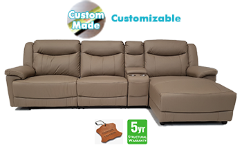 Melrose Chaise Lounge with Recliners in 100% Leather