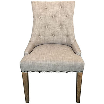 Monte Upholstered Dining Chair in Beige Linen