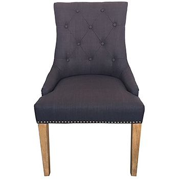 Monte Upholstered Dining Chair in Black Linen