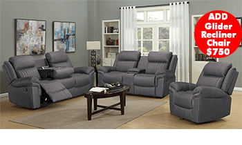 Morgan Recliner Lounge in Rhino Fabric
