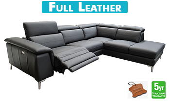 Neo Chaise Lounge with Electric Recliner in 100% Leather
