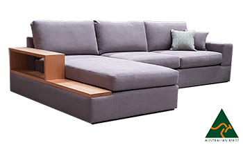 Oakley Chaise Lounge in Fabric with Tassie Oak Accents