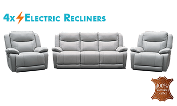 Plush Suite with 4x Electric Recliners in 100% Thick Leather