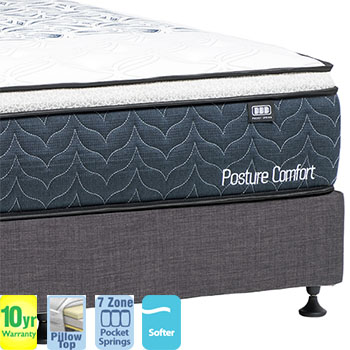 Posture Comfort Plush with Pillow Top Queen Mattress and Base
