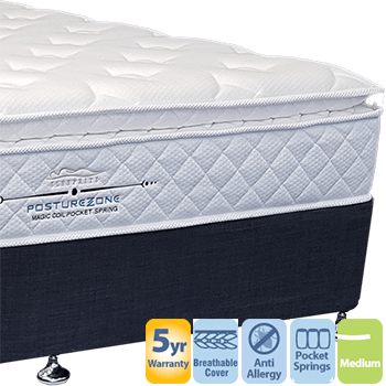 Posturezone Medium with Pillow Top Queen Mattress and Base