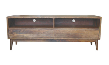 Retro 2 Drawer Hardwood TV Unit