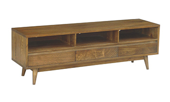 Retro 3 Drawer Hardwood TV Unit