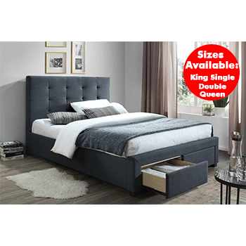 Rhodes Upholstered Bed in Grey