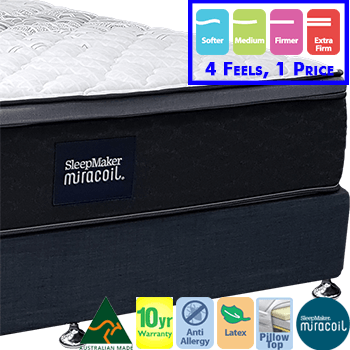 Sleepmaker Miracoil Adv 201 King Single Mattress & Base 4 Feels