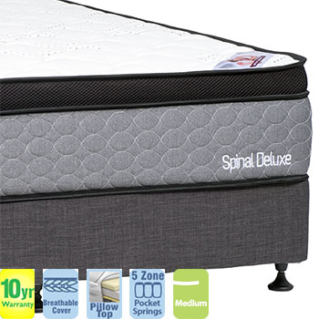 Spinal Deluxe Medium with Pillow Top Queen Mattress and Base