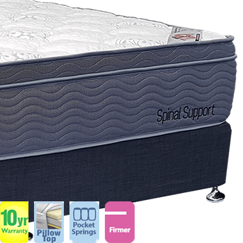 Spinal Support Firm with Pillow Top Queen Mattress and Base