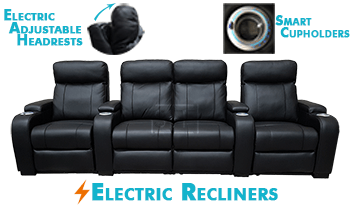 Encore with Electric Recliners & Headrests in 100% Thick Leather