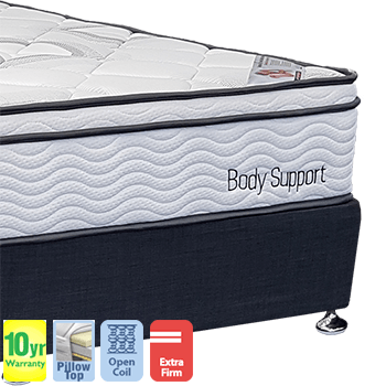 Body Support Firm with Pillow Top Queen Mattress and Base