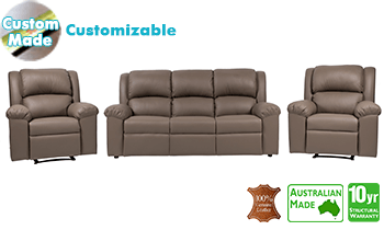 Sydney Recliner Lounge in 100% Top Grain Leather