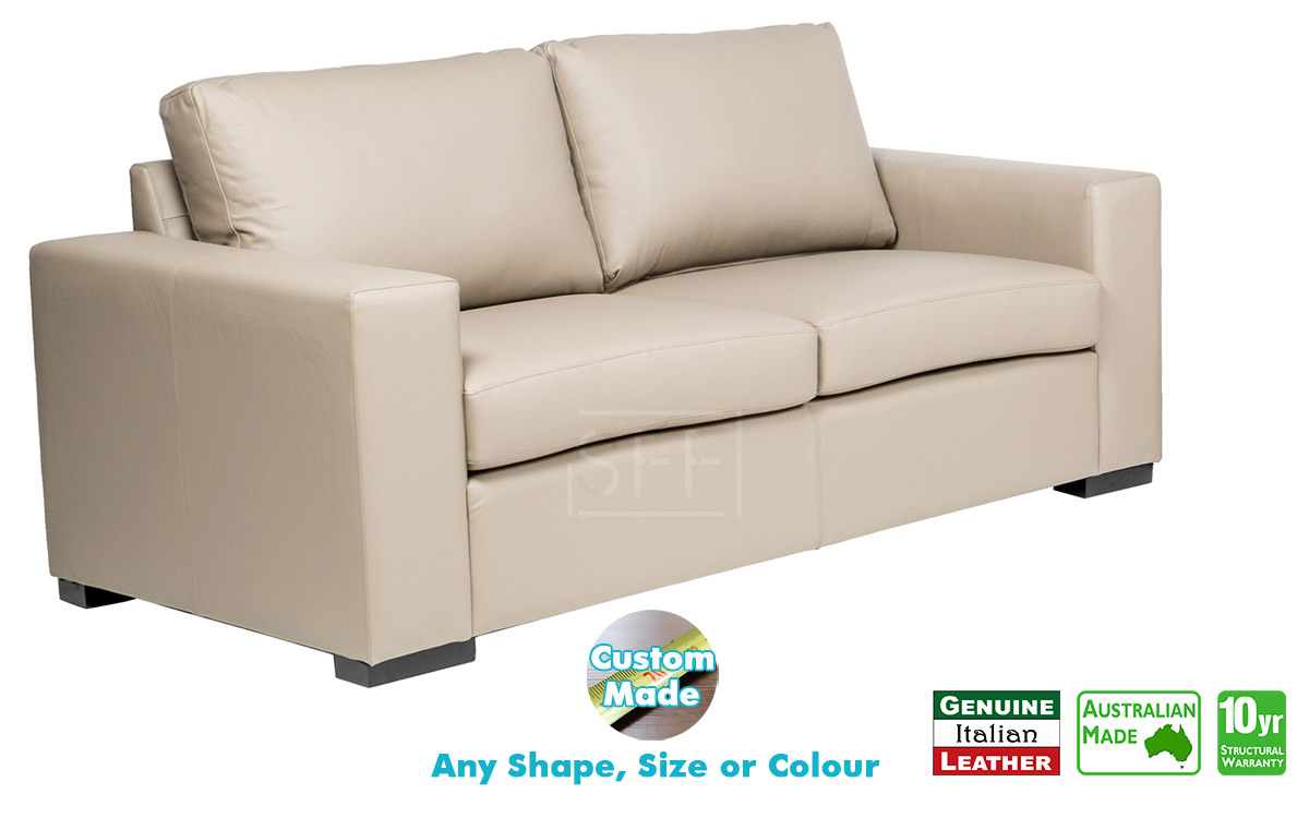 Torquay 100% Italian Leather Sofa, Sydney Furniture Factory