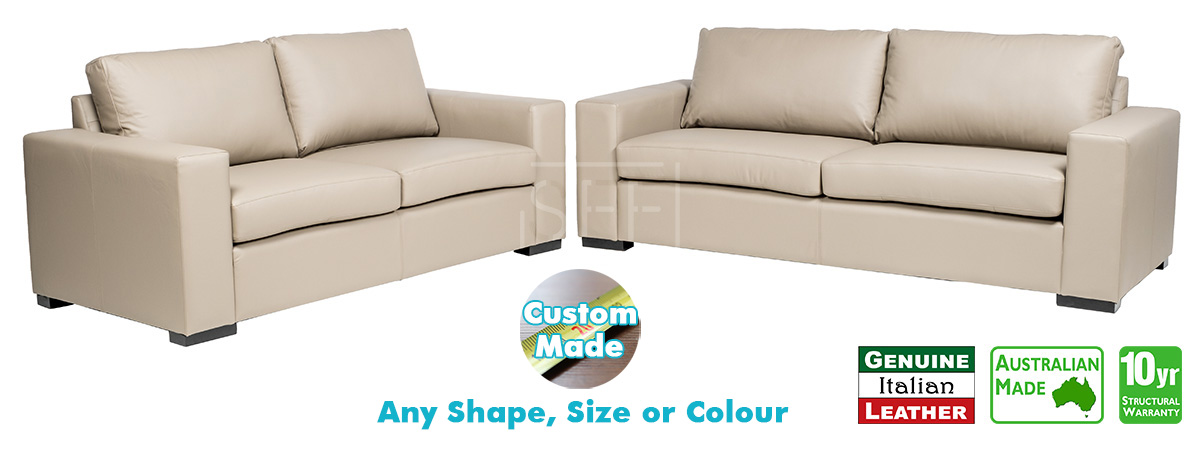 Torquay 100% Italian Leather Sofa Pair, Sydney Furniture