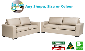 Torquay 100% Italian Leather Sofa Pair