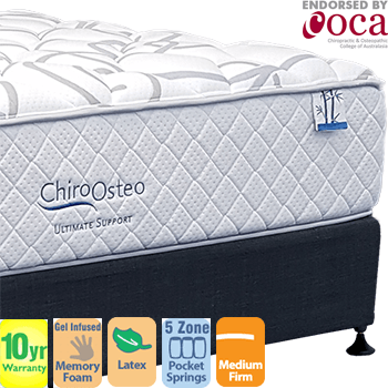 Chiro Osteo Ultimate Support MediumFirm Double Mattress and Base