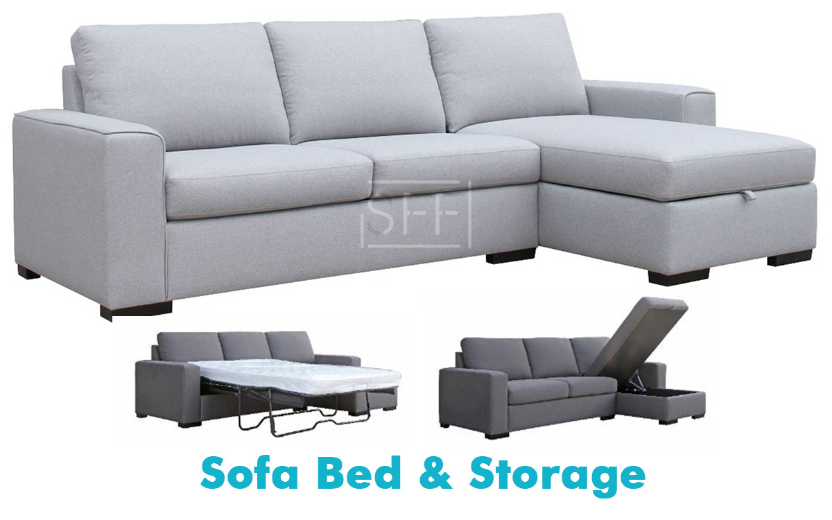 Urban Chaise Lounge With Sofa Bed Storage In Fabric Sydney Furniture Factory