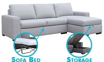 Urban Chaise Lounge with Sofa Bed & Storage in Fabric