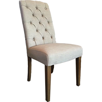 Felice Upholstered Dining Chair in Beige Linen