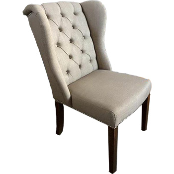 Royale Upholstered Winged Dining Chair in Beige Linen