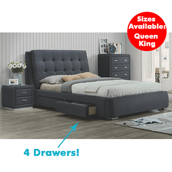 Vara 4 Drawer Upholstered Bed in Grey