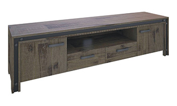 Warehouse 2 Door 2 Drawer Rustic TV Unit